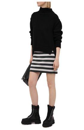 Женская шерстяная юбка KENZO черно-белого цвета, арт. FB52JU5403AE | Фото 2 (Стили: Кэжуэл; Длина Ж (юбки, платья, шорты): Мини; Материал внешний: Шерсть; Женское Кросс-КТ: Юбка-карандаш)