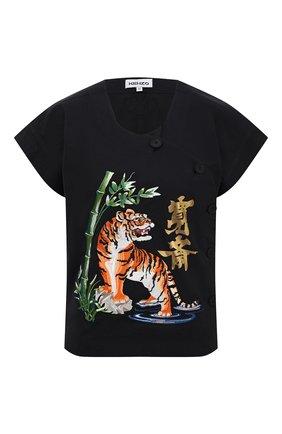 Женская хлопковая футболка KENZO черного цвета, арт. FB52CH0339KE | Фото 1