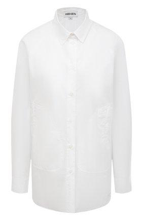 Женская хлопковая рубашка KENZO белого цвета, арт. FB52CH0281LA | Фото 1
