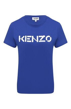 Женская хлопковая футболка KENZO синего цвета, арт. FA62TS8414SJ | Фото 1