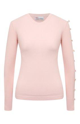 Женский пуловер REDVALENTINO светло-розового цвета, арт. VR3KC06I/5NM   Фото 1 (Стили: Романтичный; Материал внешний: Синтетический материал, Вискоза; Женское Кросс-КТ: Пуловер-одежда; Рукава: Длинные; Длина (для топов): Стандартные)