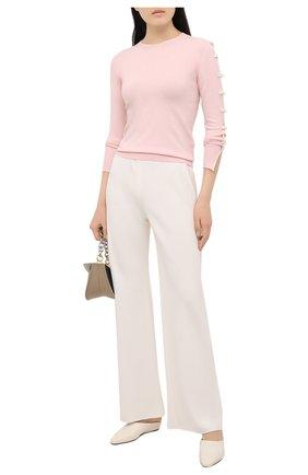 Женский пуловер REDVALENTINO светло-розового цвета, арт. VR3KC06I/5NM   Фото 2 (Стили: Романтичный; Материал внешний: Синтетический материал, Вискоза; Женское Кросс-КТ: Пуловер-одежда; Рукава: Длинные; Длина (для топов): Стандартные)