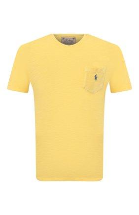 Мужская хлопковая футболка POLO RALPH LAUREN желтого цвета, арт. 710795137 | Фото 1
