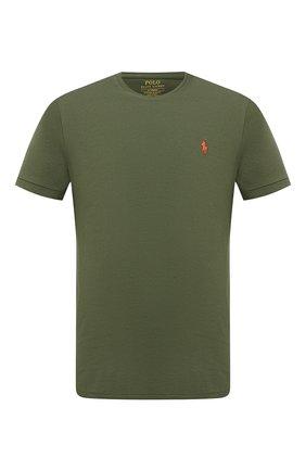 Мужская хлопковая футболка POLO RALPH LAUREN темно-зеленого цвета, арт. 710671438 | Фото 1 (Стили: Кэжуэл; Длина (для топов): Стандартные; Материал внешний: Хлопок; Принт: Без принта; Рукава: Короткие)
