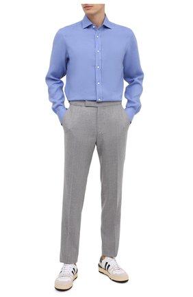 Мужская льняная рубашка RALPH LAUREN синего цвета, арт. 790587253 | Фото 2