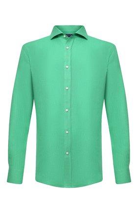Мужская льняная рубашка RALPH LAUREN зеленого цвета, арт. 790826540   Фото 1 (Стили: Кэжуэл; Материал внешний: Лен; Манжеты: На пуговицах; Принт: Однотонные; Случай: Повседневный; Рубашки М: Regular Fit; Воротник: Акула; Рукава: Длинные; Длина (для топов): Стандартные)