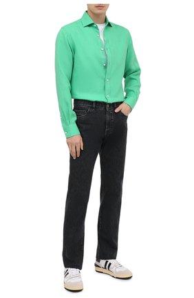 Мужская льняная рубашка RALPH LAUREN зеленого цвета, арт. 790826540   Фото 2 (Стили: Кэжуэл; Материал внешний: Лен; Манжеты: На пуговицах; Принт: Однотонные; Случай: Повседневный; Рубашки М: Regular Fit; Воротник: Акула; Рукава: Длинные; Длина (для топов): Стандартные)