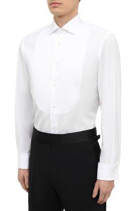 Мужская хлопковая сорочка RALPH LAUREN белого цвета, арт. 791814302 | Фото 3
