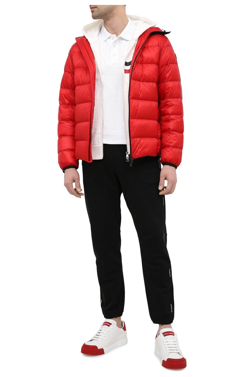 Мужская пуховая куртка provins MONCLER красного цвета, арт. G1-091-1A123-00-53279 | Фото 2 (Кросс-КТ: Куртка; Мужское Кросс-КТ: пуховик-короткий; Рукава: Длинные; Материал внешний: Синтетический материал; Стили: Гранж; Материал подклада: Синтетический материал; Длина (верхняя одежда): Короткие; Материал утеплителя: Пух и перо)