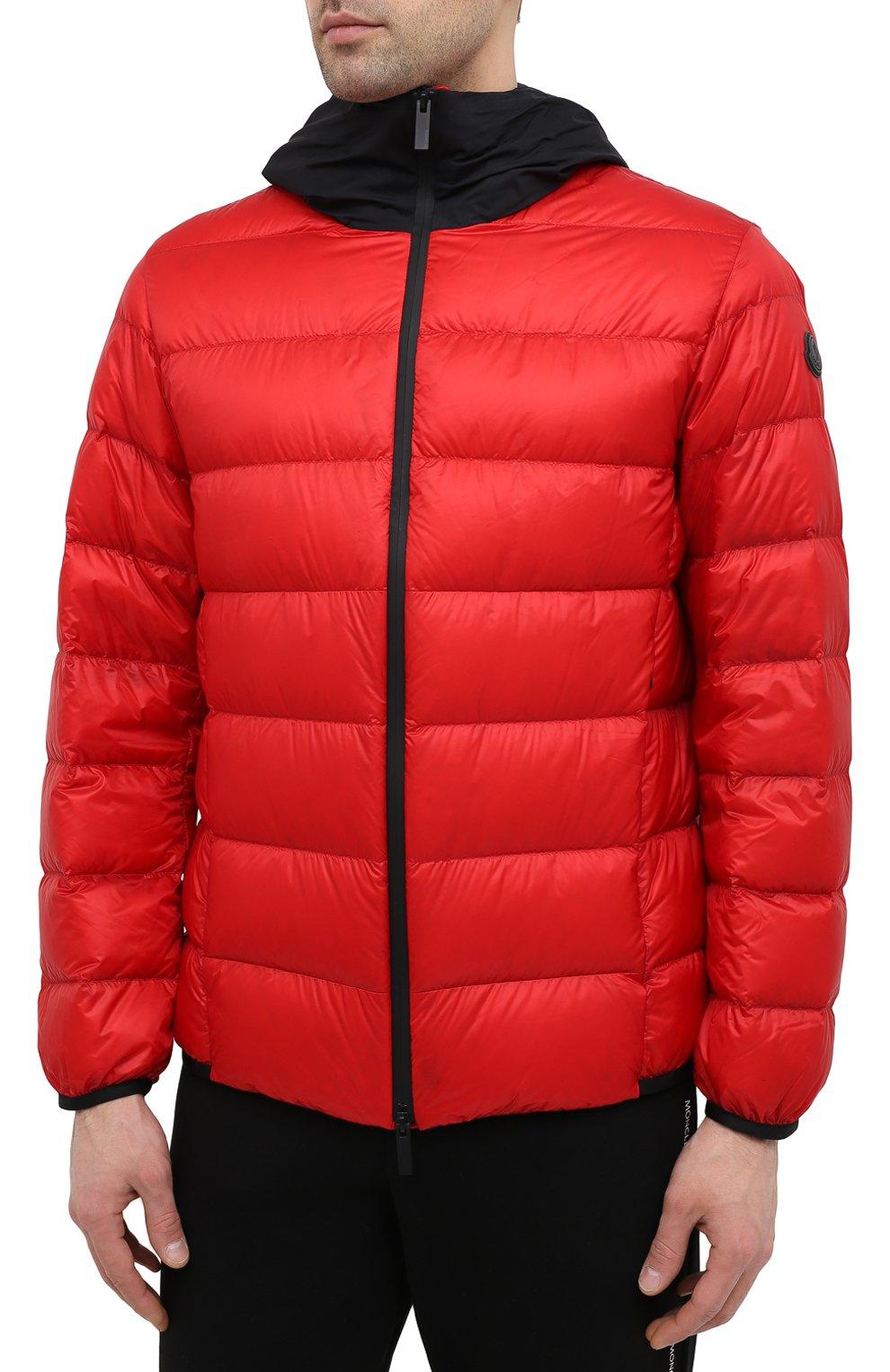 Мужская пуховая куртка provins MONCLER красного цвета, арт. G1-091-1A123-00-53279 | Фото 3 (Кросс-КТ: Куртка; Мужское Кросс-КТ: пуховик-короткий; Рукава: Длинные; Материал внешний: Синтетический материал; Стили: Гранж; Материал подклада: Синтетический материал; Длина (верхняя одежда): Короткие; Материал утеплителя: Пух и перо)