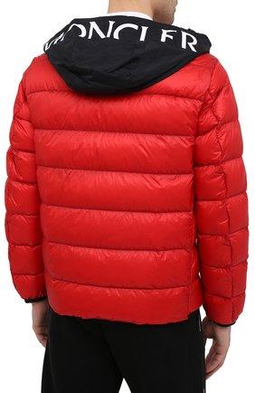 Мужская пуховая куртка provins MONCLER красного цвета, арт. G1-091-1A123-00-53279 | Фото 4 (Кросс-КТ: Куртка; Мужское Кросс-КТ: пуховик-короткий; Рукава: Длинные; Материал внешний: Синтетический материал; Стили: Гранж; Материал подклада: Синтетический материал; Длина (верхняя одежда): Короткие; Материал утеплителя: Пух и перо)