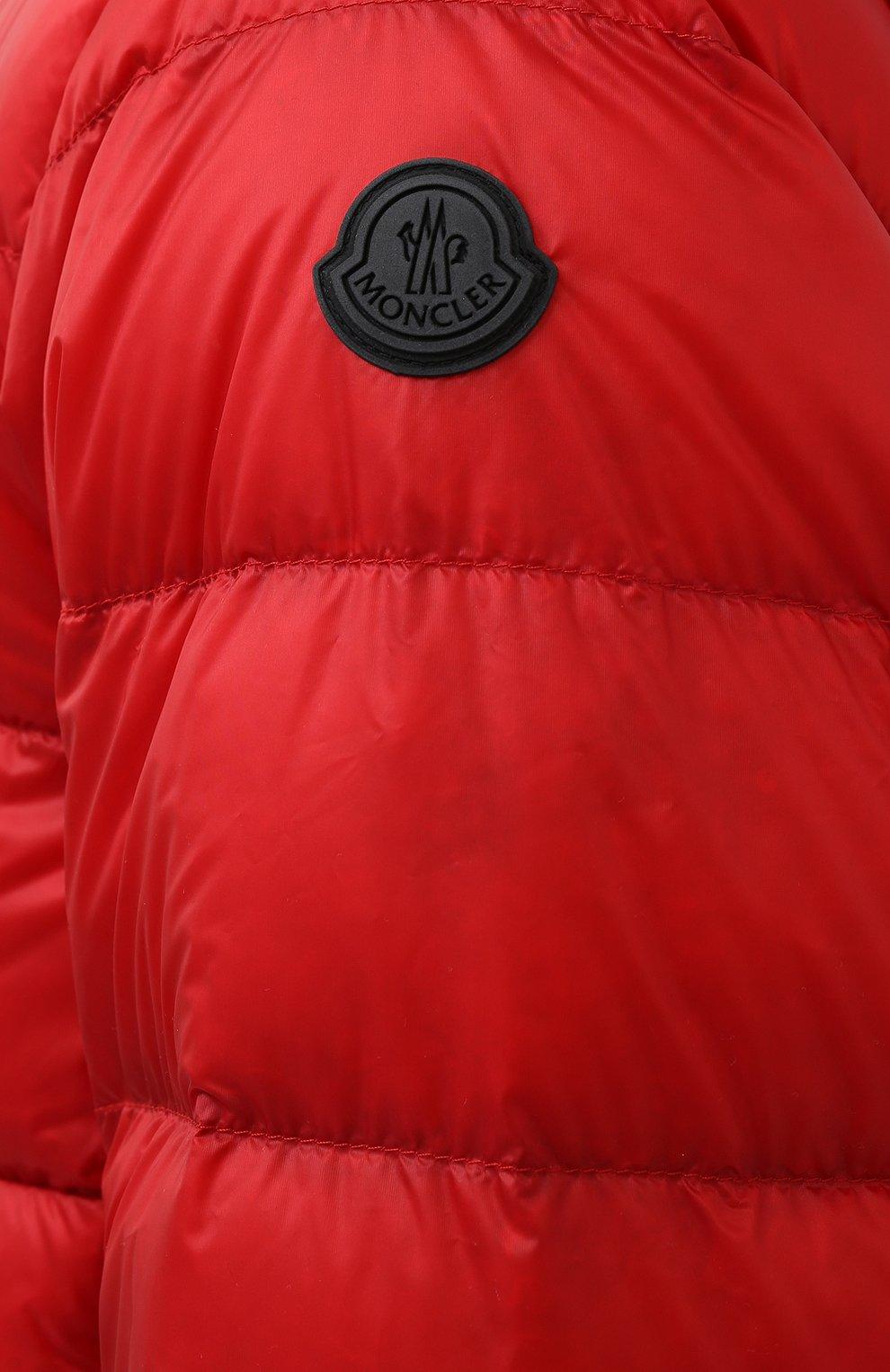 Мужская пуховая куртка provins MONCLER красного цвета, арт. G1-091-1A123-00-53279 | Фото 5 (Кросс-КТ: Куртка; Мужское Кросс-КТ: пуховик-короткий; Рукава: Длинные; Материал внешний: Синтетический материал; Стили: Гранж; Материал подклада: Синтетический материал; Длина (верхняя одежда): Короткие; Материал утеплителя: Пух и перо)