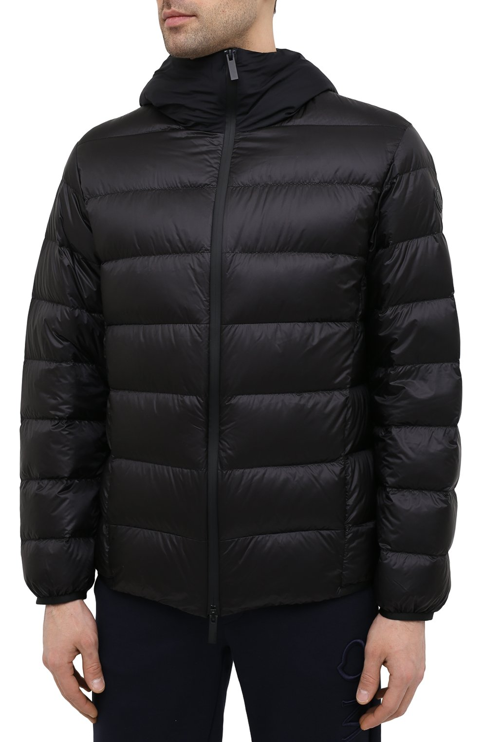 Мужская пуховая куртка provins MONCLER черного цвета, арт. G1-091-1A123-00-53279 | Фото 3 (Кросс-КТ: Куртка; Мужское Кросс-КТ: пуховик-короткий; Рукава: Длинные; Материал внешний: Синтетический материал; Материал подклада: Синтетический материал; Длина (верхняя одежда): Короткие; Материал утеплителя: Пух и перо; Стили: Кэжуэл)