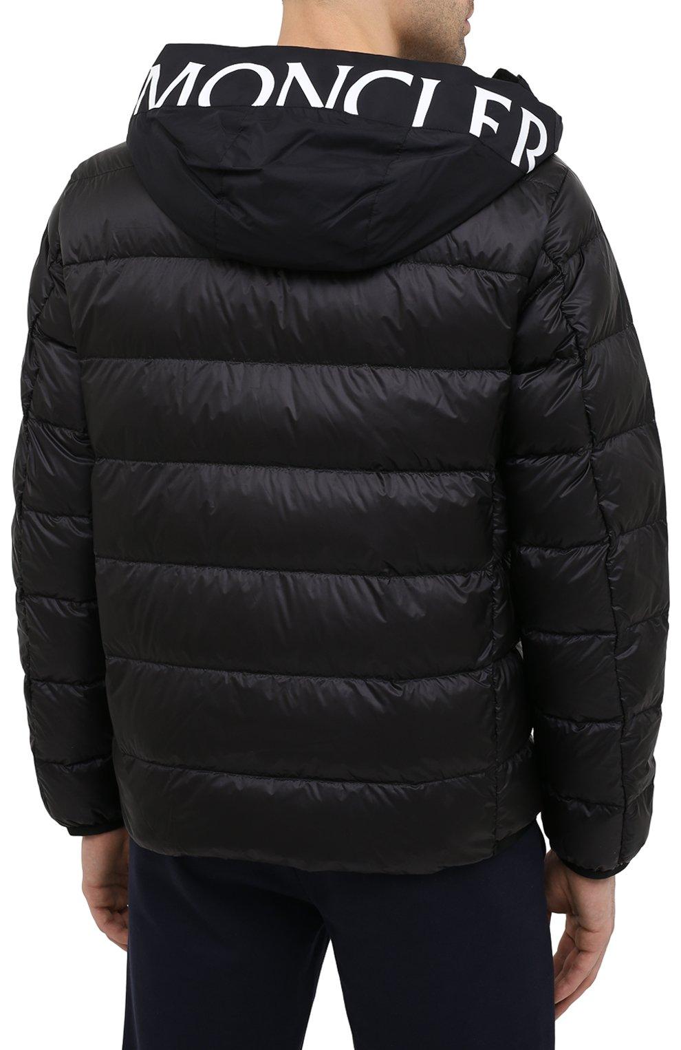 Мужская пуховая куртка provins MONCLER черного цвета, арт. G1-091-1A123-00-53279 | Фото 4 (Кросс-КТ: Куртка; Мужское Кросс-КТ: пуховик-короткий; Рукава: Длинные; Материал внешний: Синтетический материал; Материал подклада: Синтетический материал; Длина (верхняя одежда): Короткие; Материал утеплителя: Пух и перо; Стили: Кэжуэл)