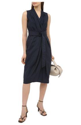 Женское хлопковое платье BRUNELLO CUCINELLI темно-синего цвета, арт. M0F79A4523 | Фото 2
