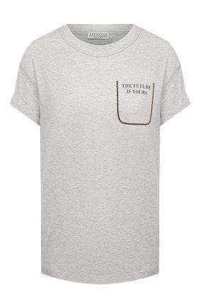 Женская хлопковая футболка BRUNELLO CUCINELLI серого цвета, арт. M0A45BP100 | Фото 1