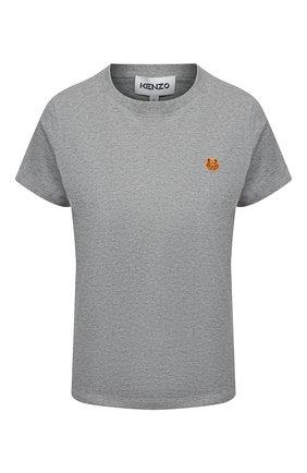 Женская хлопковая футболка KENZO серого цвета, арт. FB52TS8434SA | Фото 1