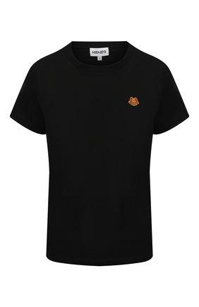 Женская хлопковая футболка KENZO черного цвета, арт. FB52TS8434SA | Фото 1 (Женское Кросс-КТ: Футболка-одежда; Стили: Спорт-шик; Длина (для топов): Стандартные; Принт: С принтом; Материал внешний: Хлопок; Рукава: Короткие)
