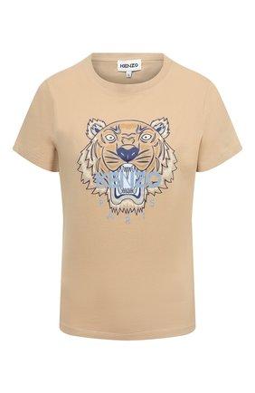 Женская хлопковая футболка KENZO бежевого цвета, арт. FB52TS8464YB | Фото 1