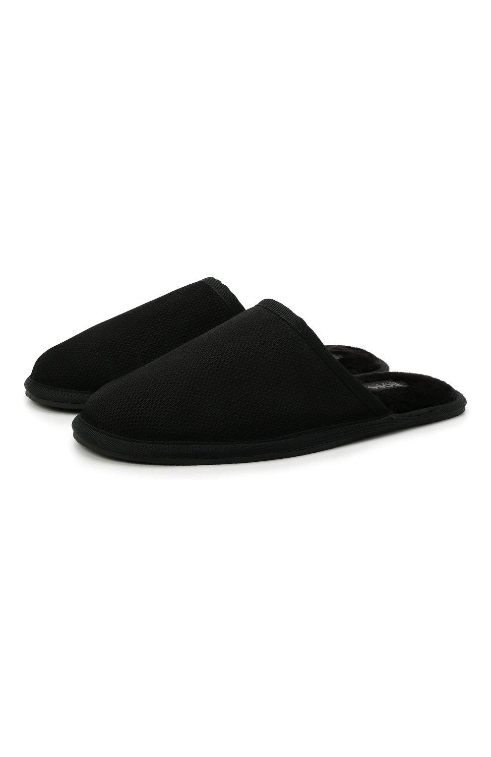 Мужского домашние туфли BOSS черного цвета, арт. 50445700 | Фото 1