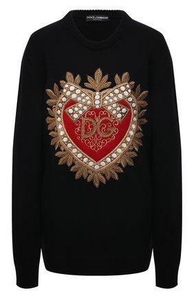 Женский кашемировый свитер DOLCE & GABBANA черного цвета, арт. FX199Z/JAW4D | Фото 1