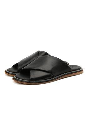 Женские кожаные шлепанцы BRUNELLO CUCINELLI черного цвета, арт. MZBGC1985 | Фото 1 (Материал внутренний: Натуральная кожа; Подошва: Платформа)