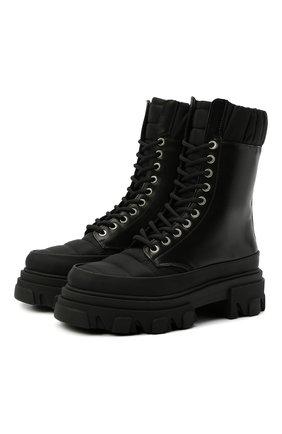 Женские комбинированные ботинки GANNI черного цвета, арт. S1409 | Фото 1