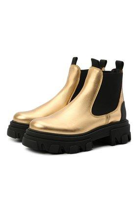 Женские кожаные ботинки GANNI золотого цвета, арт. S1460 | Фото 1