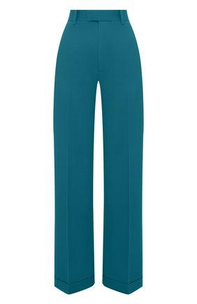 Женские шерстяные брюки BOTTEGA VENETA бирюзового цвета, арт. 644546/V0B20 | Фото 1