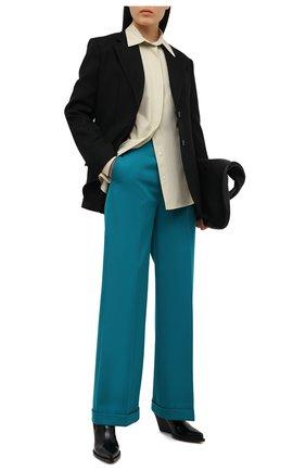 Женские шерстяные брюки BOTTEGA VENETA бирюзового цвета, арт. 644546/V0B20 | Фото 2