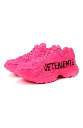 Женские текстильные кроссовки vetements x reebok spike runner 200 VETEMENTS розового цвета, арт. UE51SN200P 1385/W   Фото 1