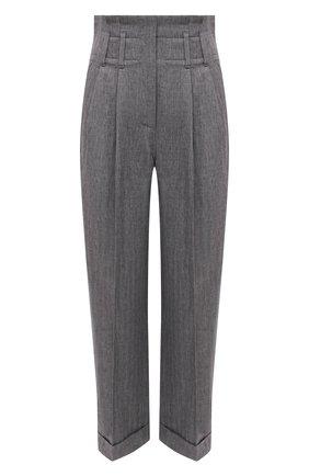 Женские льняные брюки BRUNELLO CUCINELLI серого цвета, арт. MH507P7624 | Фото 1