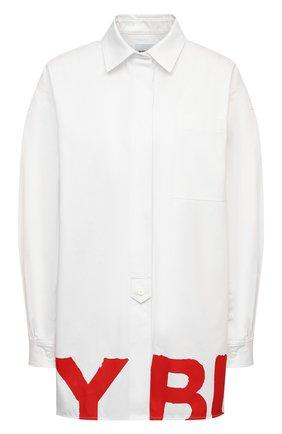 Женская хлопковая рубашка BURBERRY белого цвета, арт. 8038143 | Фото 1