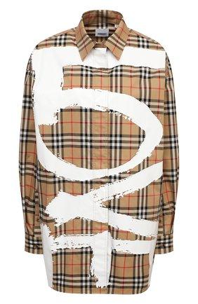 Женская хлопковая рубашка BURBERRY бежевого цвета, арт. 8038128 | Фото 1