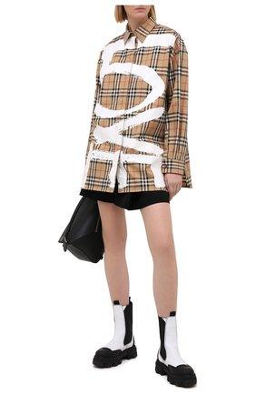 Женская хлопковая рубашка BURBERRY бежевого цвета, арт. 8038128 | Фото 2