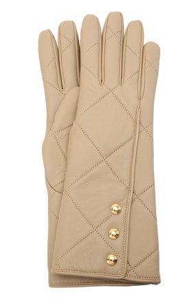 Женские кожаные перчатки BURBERRY бежевого цвета, арт. 8037815 | Фото 1