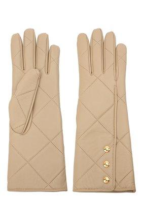 Женские кожаные перчатки BURBERRY бежевого цвета, арт. 8037815 | Фото 2