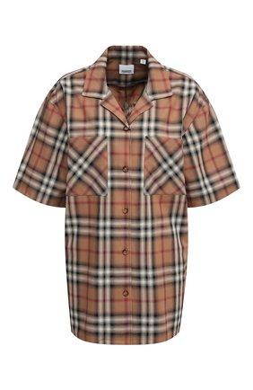 Женская хлопковая рубашка BURBERRY бежевого цвета, арт. 8037341 | Фото 1