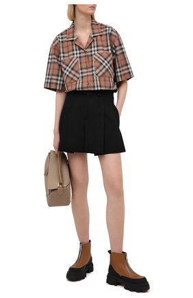 Женская хлопковая рубашка BURBERRY бежевого цвета, арт. 8037341 | Фото 2