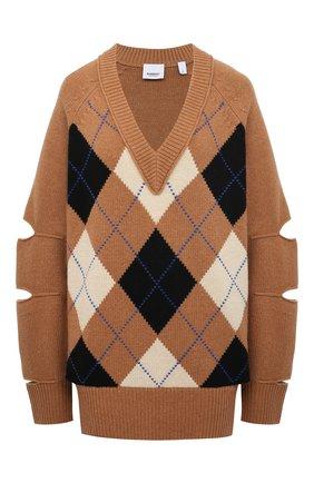 Женский свитер из шерсти и кашемира BURBERRY бежевого цвета, арт. 8037240 | Фото 1