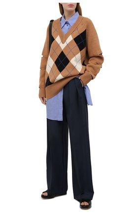 Женский свитер из шерсти и кашемира BURBERRY бежевого цвета, арт. 8037240 | Фото 2