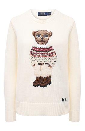 Женский хлопковый свитер POLO RALPH LAUREN кремвого цвета, арт. 211827358 | Фото 1