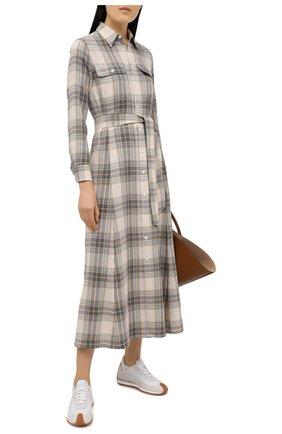 Женское платье из хлопка и вискозы POLO RALPH LAUREN серого цвета, арт. 211800586 | Фото 2