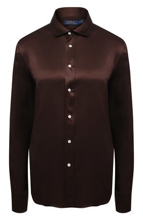Женская шелковая рубашка POLO RALPH LAUREN коричневого цвета, арт. 211798122 | Фото 1