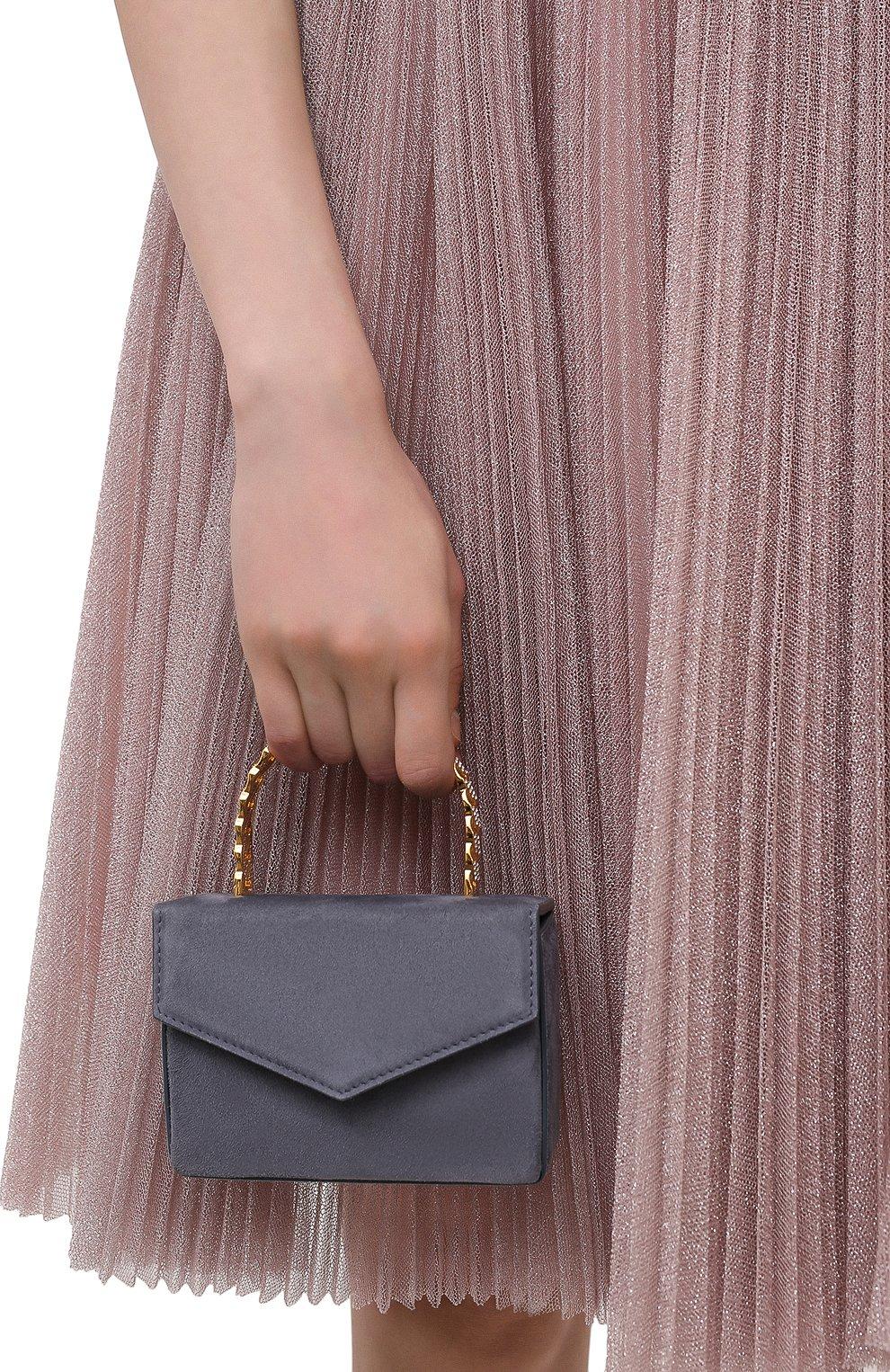 Женская сумка pernille super mini AMINA MUADDI серого цвета, арт. PERNILLE SUPER MINI/SUEDE HANDLE   Фото 2 (Сумки-технические: Сумки top-handle; Материал: Натуральная кожа; Размер: mini)
