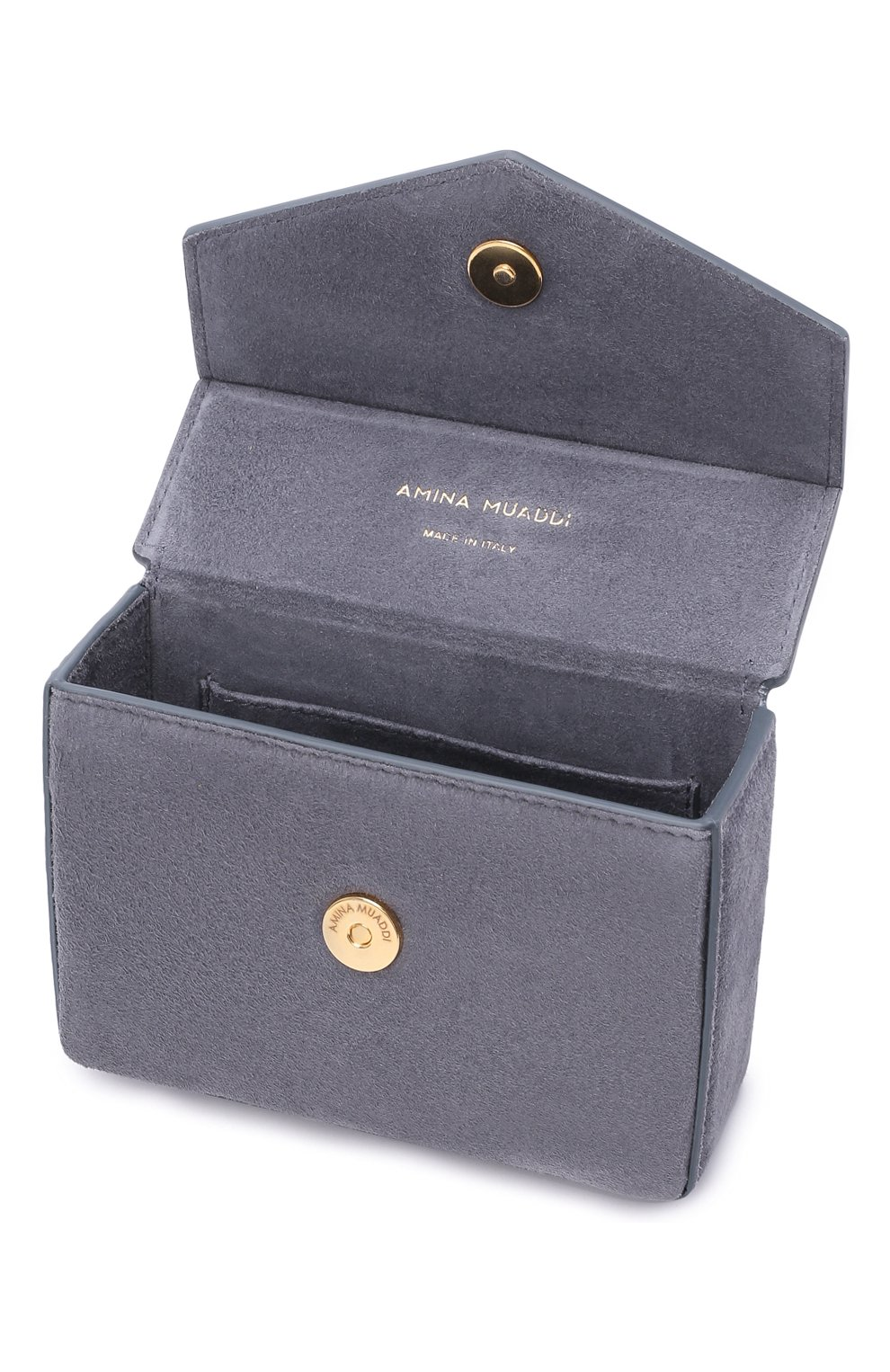 Женская сумка pernille super mini AMINA MUADDI серого цвета, арт. PERNILLE SUPER MINI/SUEDE HANDLE   Фото 4 (Сумки-технические: Сумки top-handle; Материал: Натуральная кожа; Размер: mini)
