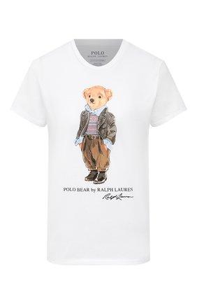 Женская хлопковая футболка POLO RALPH LAUREN белого цвета, арт. 211814474 | Фото 1