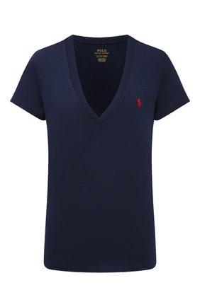 Женская хлопковая футболка POLO RALPH LAUREN синего цвета, арт. 211810419 | Фото 1
