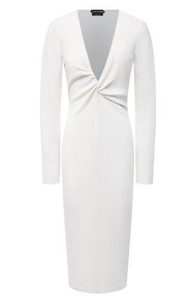 Женское платье из кашемира и шелка TOM FORD белого цвета, арт. ACK254-YAX087   Фото 1