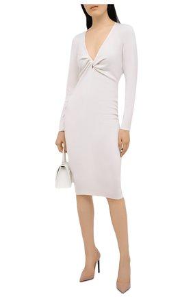 Женское платье из кашемира и шелка TOM FORD белого цвета, арт. ACK254-YAX087   Фото 2